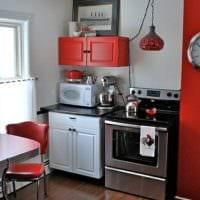 красно белая кухня 3 кв. м.