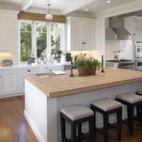 кухня в стиле модерн с барной стойкой