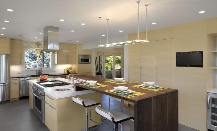 стол барная стойка на кухне модерн