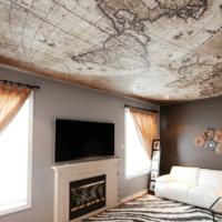 натяжной потолок карта в гостиную