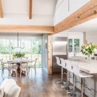 необычный дизайн кухни столовой гостиной в частном доме