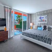 обои серого цвета спальня фото