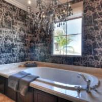обои серого цвета в интерьере ванной