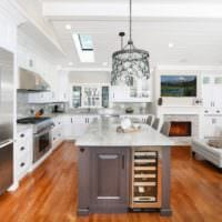 практичный дизайн кухни столовой гостиной в частном доме