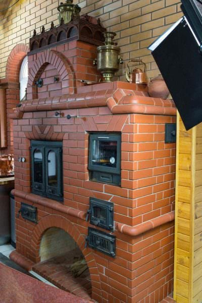 вариант применения красивой русской печи в современном интерьере фото