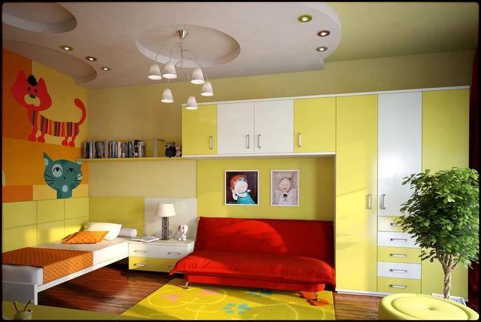 идея применения красивого желтого цвета в декоре комнаты