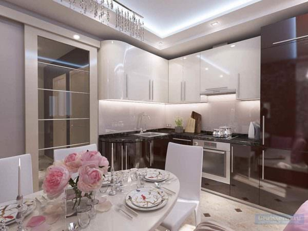 идея красивого декора кухни 10 кв.м. серии п 44 фото