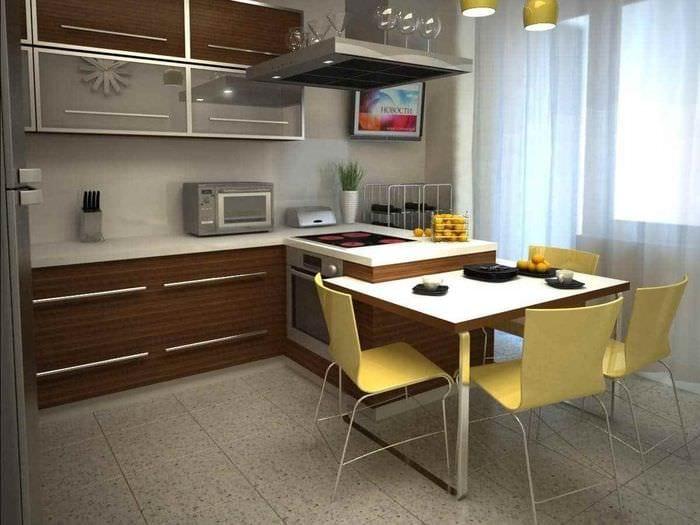 пример необычного стиля кухни 12 кв.м