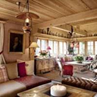 идея красивого стиля кухни в деревянном доме фото