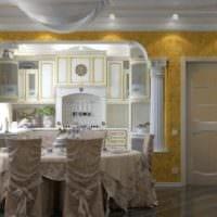 вариант светлого декора кухни в классическом стиле картинка
