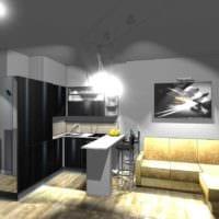 идея светлого декора студии 20 кв.м фото