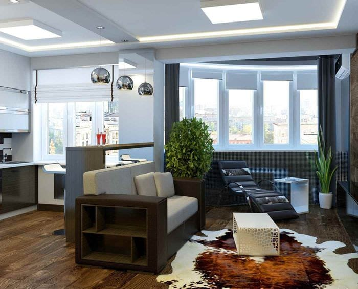 идея яркого дизайна студии 20 кв.м.