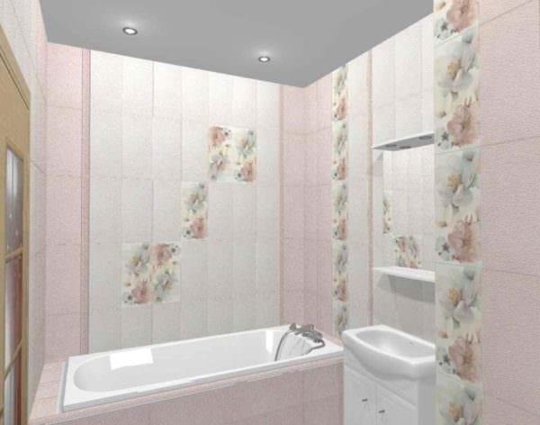 идея яркого стиля укладки плитки в ванной комнате картинка