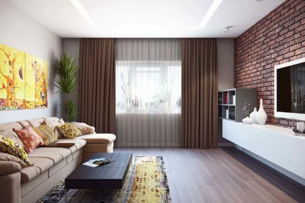 пример необычного декора гостиной 15 кв.м фото