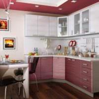 пример яркого интерьера кухни 13 кв.м фото