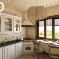 вариант необычного декора кухни в деревянном доме фото