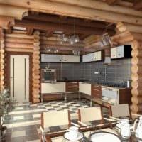 вариант яркого декора кухни в деревянном доме картинка