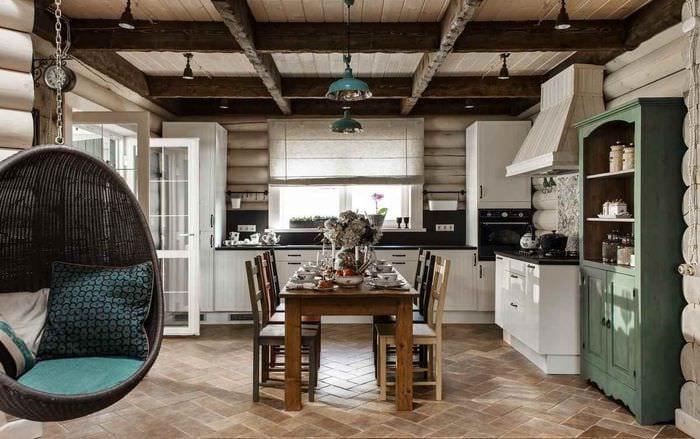 вариант необычного дизайна кухни в загородном доме