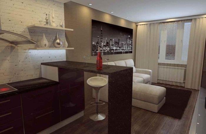 пример необычного дизайна квартиры студии 26 квадратных метров