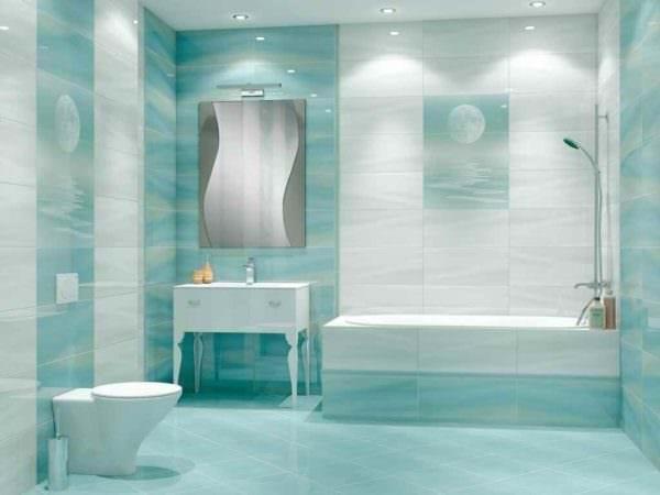 пример необычного интерьера укладки плитки в ванной комнате картинка