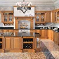 пример необычного декора кухни в классическом стиле фото