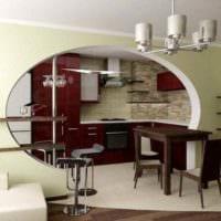 пример яркого дизайна кухни в загородном доме картинка