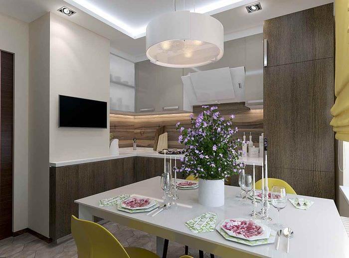 идея красивого дизайна кухни 10 кв.м. серии п 44