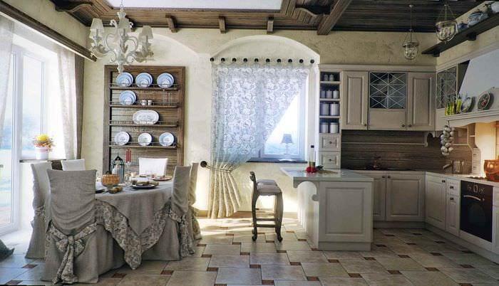пример красивого стиля кухни в деревенском стиле
