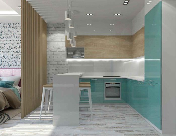вариант светлого дизайна квартиры студии 26 квадратных метров