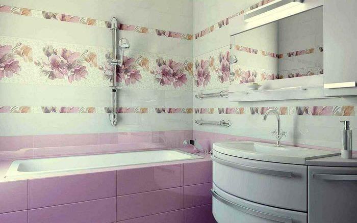 идея красивого декора укладки плитки в ванной комнате