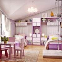 пример светлого интерьера детской комнаты для девочки фото