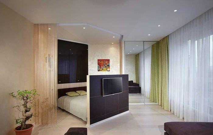 вариант красивого стиля гостиной спальни
