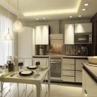 вариант светлого дизайна кухни 10 кв.м. серии п 44 картинка