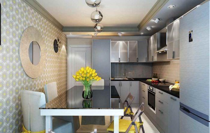 идея красивого дизайна кухни 12 кв.м
