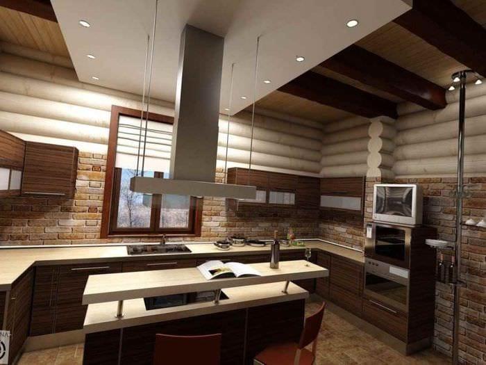 пример светлого стиля кухни в деревянном доме