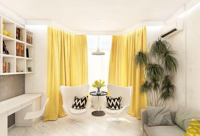 пример использования светлого желтого цвета в интерьере квартиры