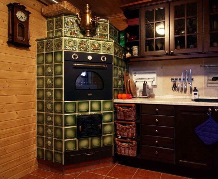 идея использования красивой русской печи в современном дизайне