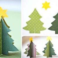 вариант создания красивой елки из картона самостоятельно картинка