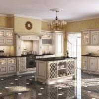 пример яркого интерьера кухни в классическом стиле фото