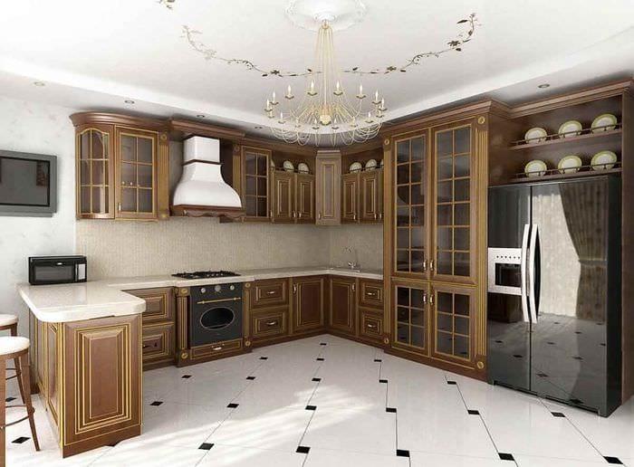 вариант светлого декора кухни в классическом стиле