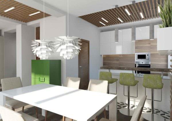 идея красивого декора кухни в загородном доме картинка