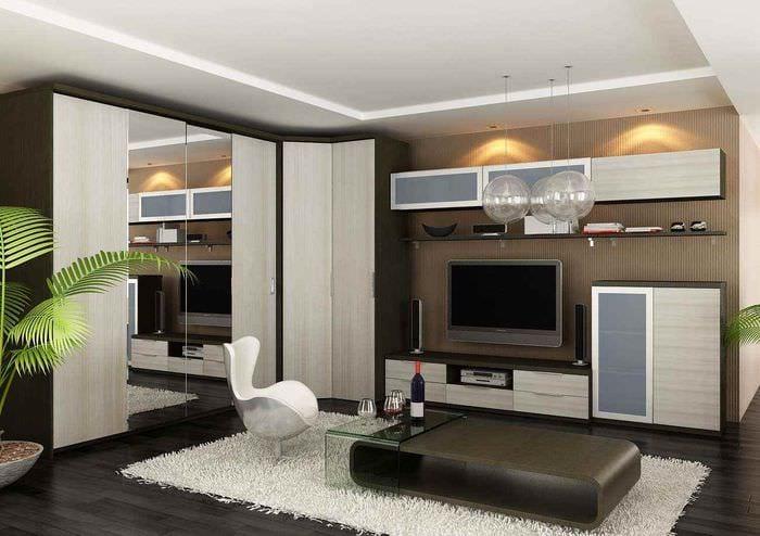 пример яркого стиля гостиной 15 кв.м