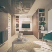 пример необычного дизайна гостиной спальни картинка