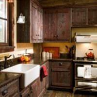 идея необычного дизайна кухни в деревенском стиле картинка