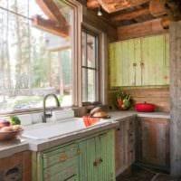 пример светлого дизайна кухни в деревенском стиле фото