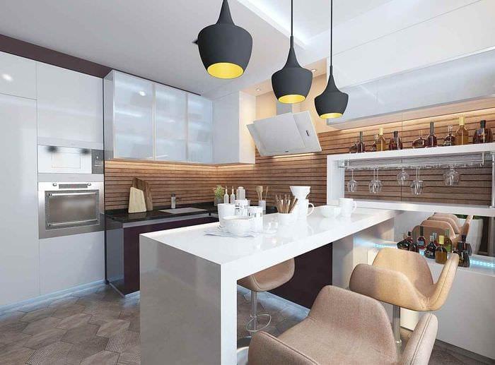 идея необычного интерьера кухни 13 кв.м