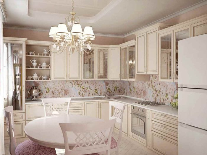 идея необычного стиля кухни в классическом стиле