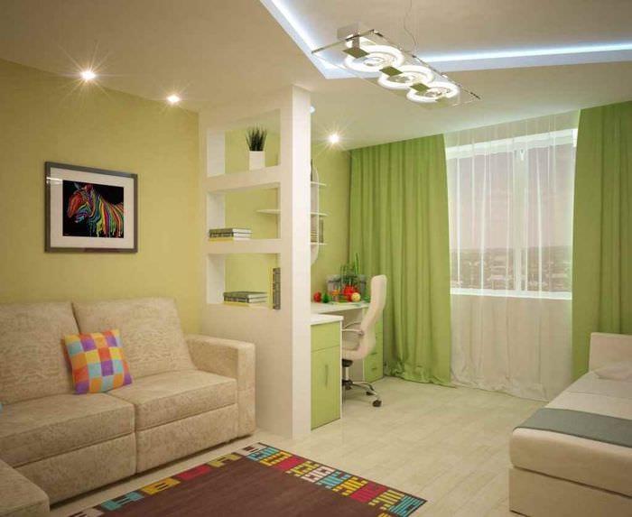 вариант красивого дизайна гостиной 15 кв.м