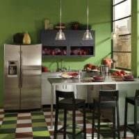 идея яркого интерьера кухни 12 кв.м картинка