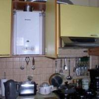 пример светлого дизайна кухни с газовой колонкой фото